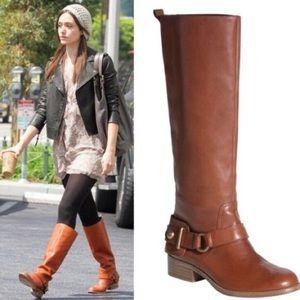 Coach Natalie cognac leather riding boot